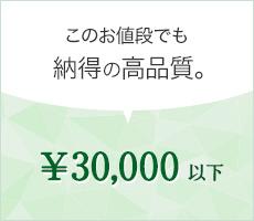 このお値段でも納得の高品質。¥30,000以下