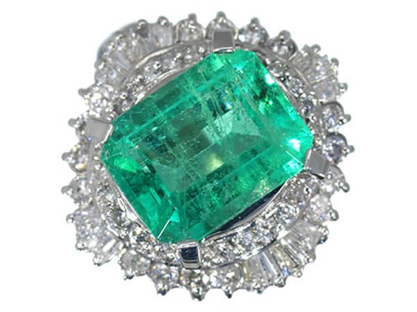 プラチナ エメラルド2.79ct ダイヤモンドリング