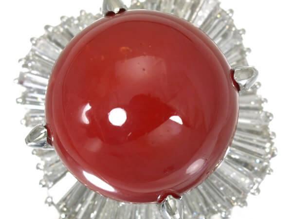 プラチナ 血赤サンゴ(珊瑚)14.8mm ダイヤモンドリング