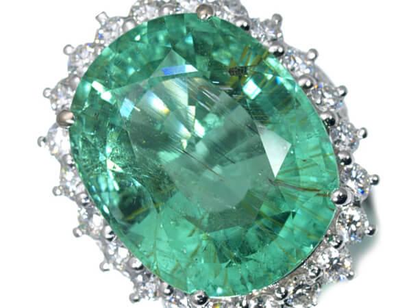 プラチナ グリーンパライバトルマリン 18ct ダイヤモンドリング